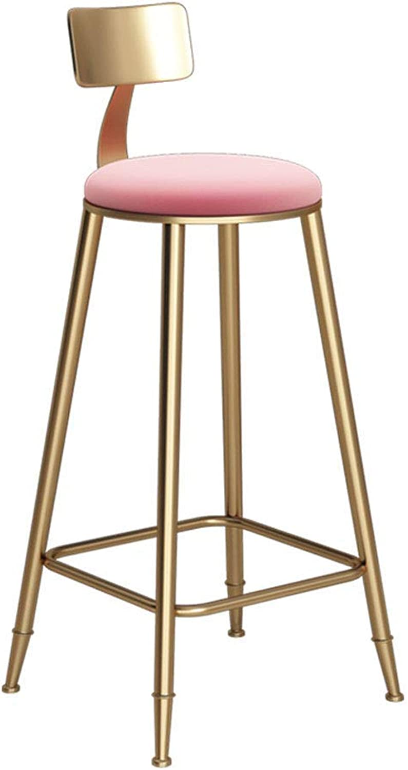 Barture Chair Foot Pad Sponge Cushion Backrest Dining Chair Kitchen Bar Stool Metal Legs Load 150 Kg (color   Pink, Size   60CM)
