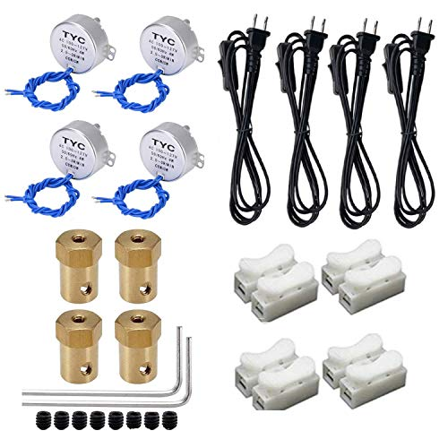 4PCS Synchronous Motor CCW/CW 4W with 7mm Flexible Coupling Connector 6ft PowerCord Switch Plug for Cuptisserie Spinner Cup Turner, Tumbler Turner Rotate kit Machine, Hand-Made, School Project, M