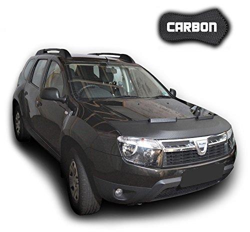 Protezione Cofano Duster CARBON Copertura Cofano Car Bra Auto NERO Front Maschera Bonnet Tuning