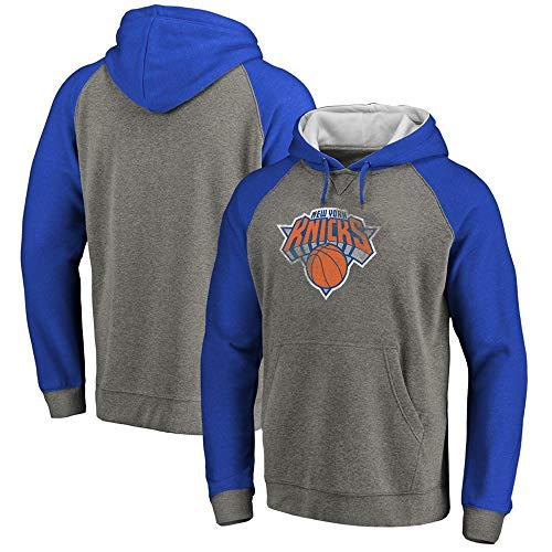 Herren NBA New York Knicks Hoodie Sweatshirt, Basketball Mode Langarm Pullover Casual Sport Sweater Trainingsanzug Mit Kapuze,Blau,L
