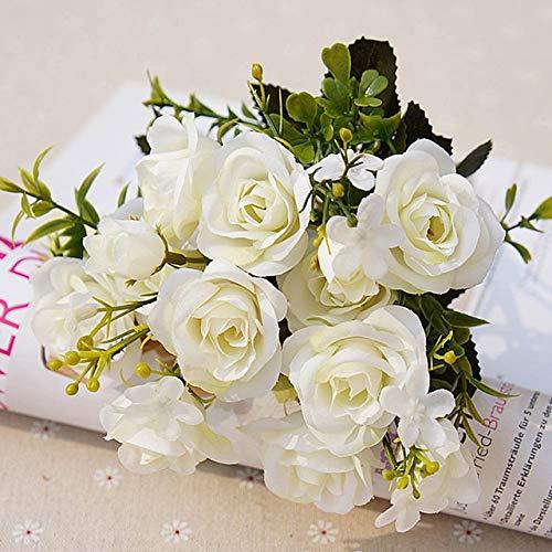 TAIYUAN Künstliche Blumen Künstliche Blumen 13 Köpfe/Strauß kleine Knospe Seide Rosen Simulation Blumen Grüne Blätter Startseite Vasen Herbst Decora for Hochzeit Dekoration (Color : White)