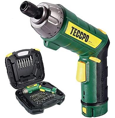 Electric Screwdriver, 45Pcs 6N.m, TECCPO Cordless Screwdriver, 4V 2000mAh Li-ion, 9+1 Torque Gears, Self-lock Chuck, 2 LED Lights, Adjustable 2 Position - TDSC01P from TECCPO