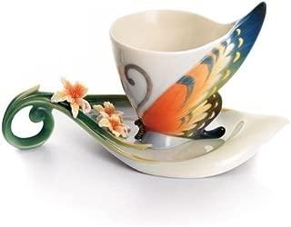 Franz Porcelain Tiger Swallowtail Butterfly Cup,Saucer