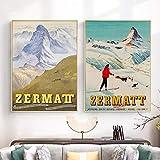 LLXHGZermatt Schweiz Matterhorn Print Vintage Ski Poster
