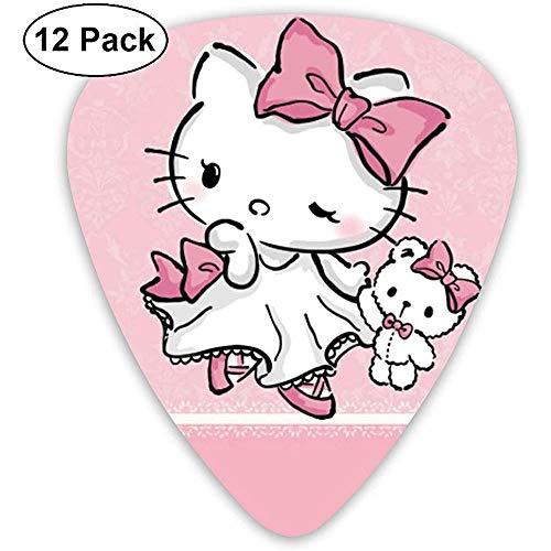 Plettri per chitarra - Plettri per chitarra alla moda in celluloide con stampa Hello Kitty alla moda confezione da 12 pezzi