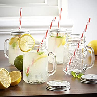 Mason Jar Mugs with Handle, SILVER Lid and Plastic Straws. 16 Oz. Each. Old Fashion Drinking Glasses - Pack of 4. By Premium Vials