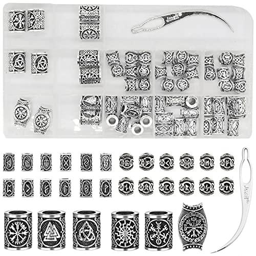YO-HAPPY Viking Rune Alphabet Character Beads Beard Beads para Hombres 61 Piezas Set Vikings Run Beads Norse Dreadlock Beads