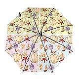 Seashells Travel paraguas plegable portátil compacto ligero diseño automático y alta resistencia al viento