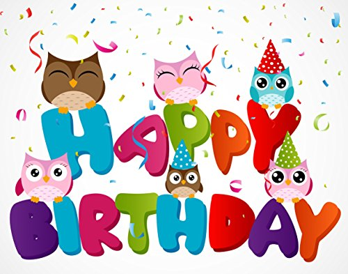 Owl Happy Birthday Edible Cake Image Topper 8 Inch Round