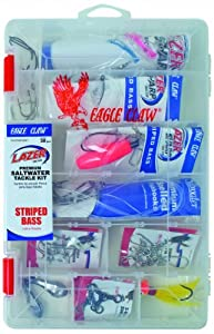 Eagle Claw Lazer Sharp Striped Bass Saltwater Tackle Kit, 33 Pieces, Contains Assortment Of Hooks, Sinkers And Tackle For Saltwater Striped Bass