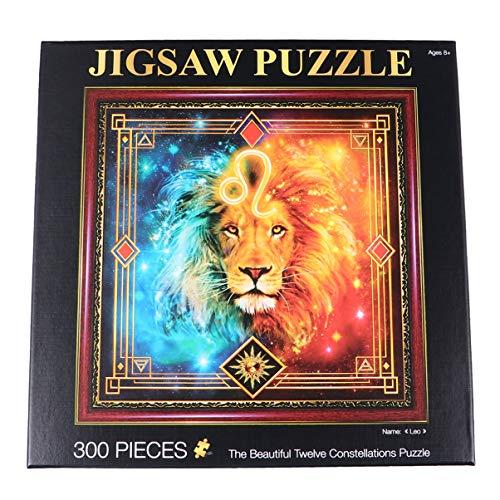 TOYANDONA Sternbild Rätsel Tierkreis Leo Horoskop Puzzle Papier DIY Geschenk für Jungen Mädchen Kinder Erwachsene Pädagogische Lernspielzeug 1 Satz 300 Stück