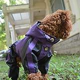 Lovelonglong Dog Hooded Raincoat, Small Dog Rain Jacket Poncho Waterproof Clothes with Hood Breathable 4 Feet Four Legs Rain Coats for Small Medium Large Pet Dogs Purple L