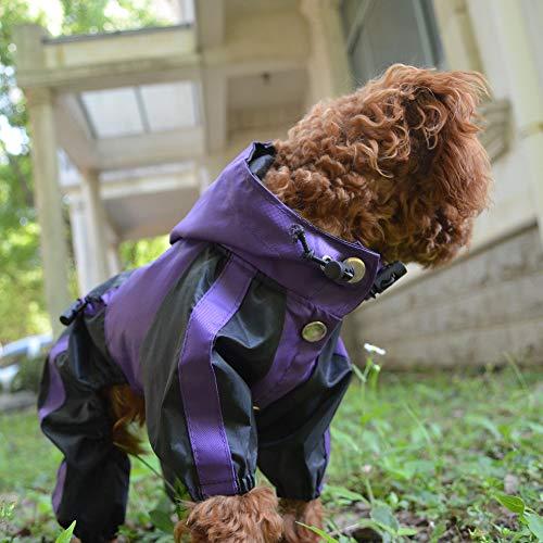 lovelonglong Hunde Regenmantel mit Hoodie, Atmungsaktive Regenjacke mit Vier Beinen im Freien Einstellbare wasserdichte Regenjacke für Kleine, Mittel, Große Hunde Purple XS
