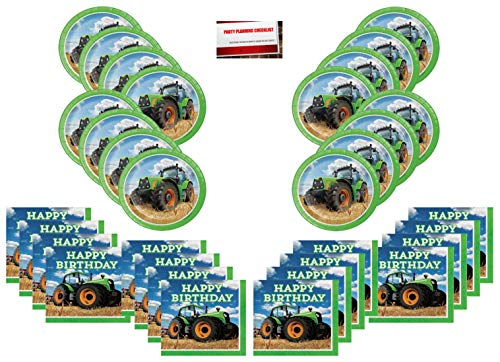 Tractor Time Party Supplies Bundle Pack for 16 Guests (17 Inch Balloon Plus Party Planning Checklist by Mikes Super Store)