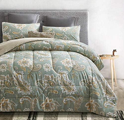 ATsense Paisley Comforter Set Queen All Season 3 Piece 100 Cotton Fabric Soft Microfiber Filled product image