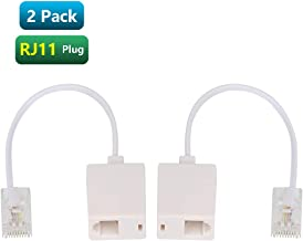 Urmust 2 Pcs RJ45 8P4C Plug to RJ11 6P4C Female M/F Telephone Ethernet Adapter