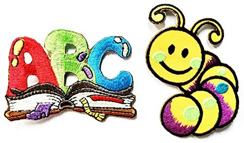 Nipitshop Patches Set 2 Pcs ABC Book Worm Patch School Teacher Embroidered Iron On Applique for Clothes Backpacks T-Shirt Jeans Skirt Vests Scarf Hat Bag