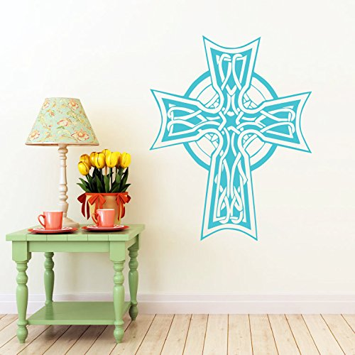 Celtic Cross Wall Decal Celtic Cross Decals Wall Vinyl Sticker Home Interior Wall Decor for Any Room Housewares Mural Design Graphic Bedroom Wall Decal Bathroom (5851)