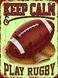Plaque murale vintage en métal « Play Rugby » - Cadeau pour homme, papa, fils, bureau, garage, boutique, bar, pub - 20,3 x 30,5 cm
