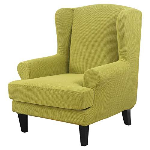 papasgix Ohrensessel Schonbezug, Elastische Sesselbezug Sesselüberwurf Sofaüberwurf Stretch Schutzhülle mit Modern Muster Sessel Husse für Ohrensessel (Gestrickt-grün)