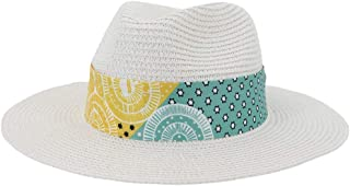 SHENTIANWEI Women Summer Straw Sun Hat with Flat Wide-Width Chapeu Feminino Striped Floral Satin Beach Hat UV Protection Fedora Hat