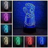 Marvel Avengers Thanos Gants Enfants 3D Illusion Veilleuse LED 7 Couleur Touch Lampe De...