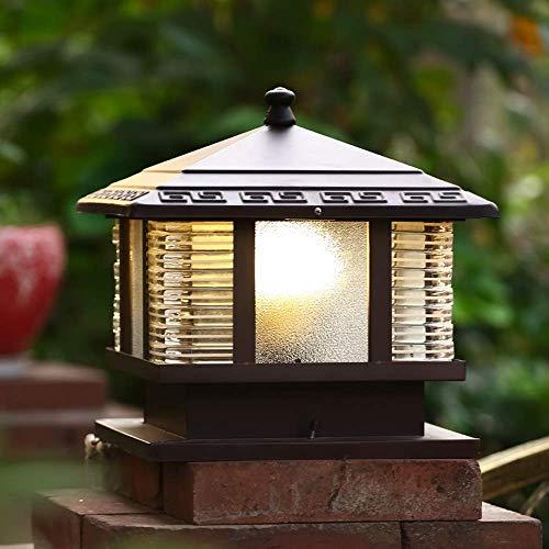 Lámpara de pared para exteriores Moderno Retro Jardín Paisaje Impermeable Poste de luces para exteriores Lámpara de pilar Puerta de pared Linterna de vidrio tradicional Lámpara de columna para puerta