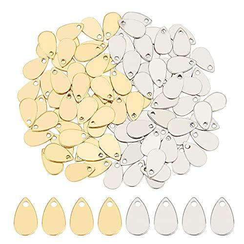UNICRAFTALE Alrededor de 100pcs Colgantes de Color Dorado Y Acero Inoxidable Estampado En Forma de Lágrima Etiqueta En Blanco Chapado Al Vacío Acero Inoxidable Pendiente para Pulsera Collar