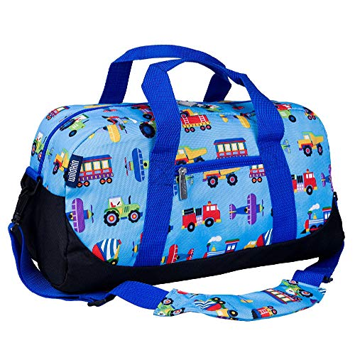 Wildkin Kids Overnighter Duffel Bag for Boys and Girls, Carry-On Size and Perfect for After-School Practice or Weekend Overnight Travel, Measures 18x9x9 Inches,Olive Kids (Trains, Planes and Trucks)