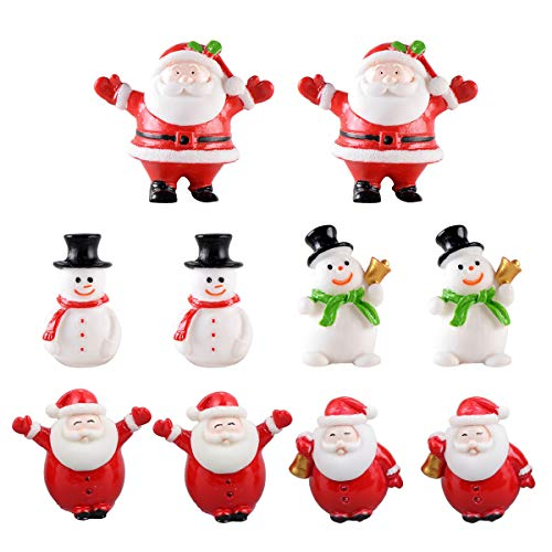 DOITOOL 10 pezzi mini ornamenti di babbo natale ornamenti in miniatura di natale statuette in resina per decorazioni natalizie per feste di natale