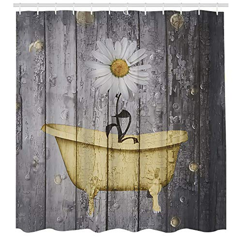 Yellow Flower Shower Curtain for Bathroom, Retro Style Purple Flowers on Vintage Wood Background Rustic Floral Pattern Bathroom Accessories Fabric Bathroom Curtain with Shower Curtain Hooks 72x72