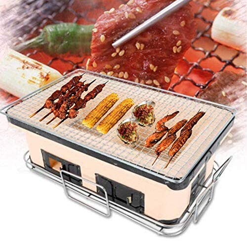 QIZHI Portable Japanese Yakiniku Grill, Table Top BBQ Grill Charcoal Camping Cooking Grill,15.7Inches