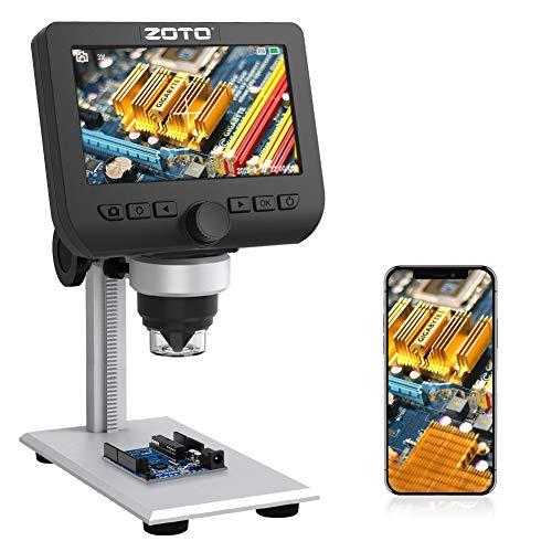 Microscopio Digitale WiFi, ZOTO LCD da 4,3 pollici, 1080P Endoscopio Ingrandimento 1000X,8 LED Microscopio Digitale con Supporto in Metallo per Smartphone Windows Mac PC