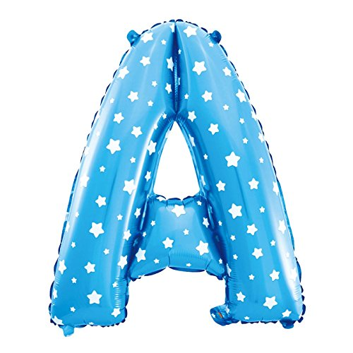 Cotigo-Globo Letra Foil Color Azul con Estrellas para Fiestas de Cumpleaños 40cm (A)