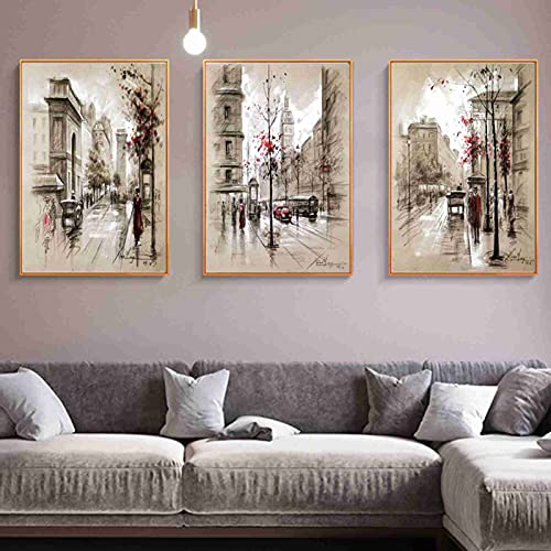 Zgzkmwsss Carteles de Pintura de Lienzo nórdico e Impresiones Paris Tower Street Paisaje Cuadros de Pared para decoración de Sala de Estar 50X70cm sin Marco x3
