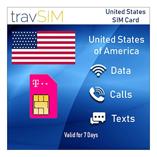 travSIM - USA SIM Card (T-Mobile Scheda SIM) per 7 Giorni Validi - 50GB 3G 4G LTE Dati Mobili - Stati Uniti T-Mobile US SIM Card