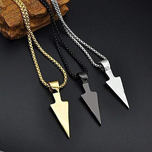 Pzpgeq Collar con Colgante de Flecha de Punta de Lanza de joyería de Acero Inoxidable para Hombre Regalo para Novio