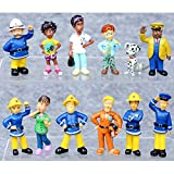 12 Pcs Hard-working Fireman Sam Figures Toys Firehouse Doll Cake Toppers for Kids - Fireman Party Supplies Figurines Collection Playset