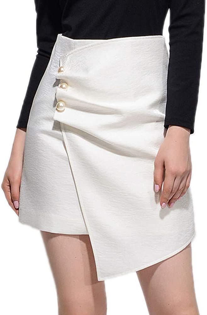 Asymmetrical Skirts Midi store Wholesale for Women High Waist Wrap Front D Pearl