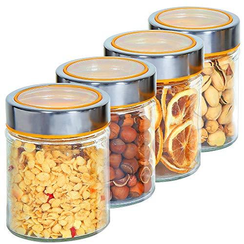 OUXI Set 4 Barattoli per Alimenti con Coperchio in Acciaio Inossidabile, contenitori ermetici per spezie, vasetti per Cucina, conservazione di legumi, Biscotti, Spaghetti (370ml)