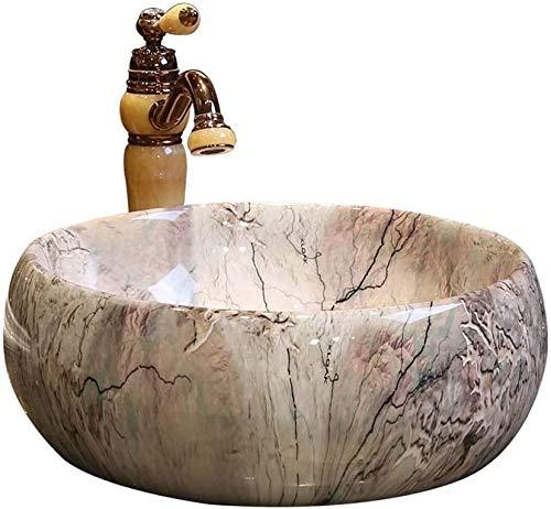 Fregadero encimera de lavabo de baño de cerámica lavabo fregadero artístico porcelana, el fregadero redondo encimera,A