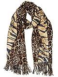 Caspar SC502 Bufanda Suave XL para Mujer con Estampado de Leopardo y Tigre, Color:marrón, Talla:Talla Única