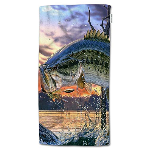 HGOD DESIGNS Fish Hand Towels Large Mouth Bass Colorful Bling Jumping Out of The Sea Soft Hand Towel for Bathroom Kitchen Yoga Gym Decorative Towels 15