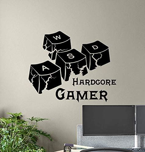 Hardcore Gamer Muursticker WASD Keyboard Keys Gamer Room Sign Poster PC Gaming Quote Vinyl Sticker Print Gift Video Game Decor Wall Art 7u87 Eenvoudig aan te brengen en verwijderbaar