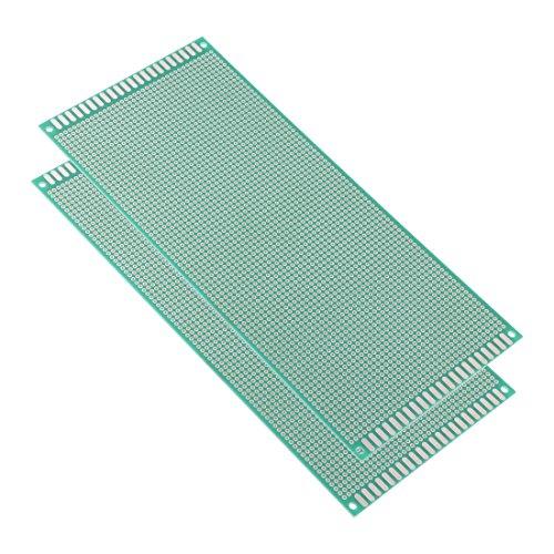 Sourcingmap - Placa de circuito impreso universal (10 x 22 cm, 1 cara, para soldar y soldar, 1,6 mm, 2 unidades), color verde