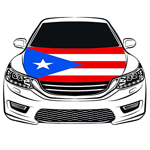 The Commonwealth of Puerto Rico Flag Car Hood Cover 3.3X5FT 100% Polyester,Elastic Fabrics Can be Washed,Car Bonnet Banner