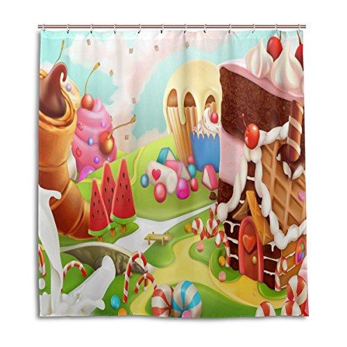 MyDaily Sweet Candy Land Cartoon Duschvorhang 167,6 x 182,9 cm, schimmelresistent und wasserdichte Polyester-Dekoration Badezimmer Vorhang