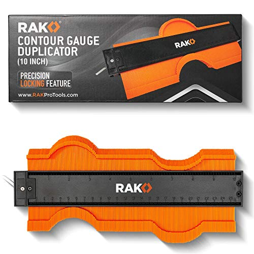 RAK Contour Gauge Shape Duplicator (10 Inch Lock) Template Tool with Adjustable Lock Precisely Copies Irregular and Awkward Shapes - Great Tool for DIY Handyman, Construction