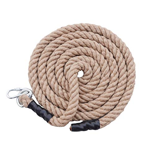 orgphys Jute Rope Climbing with Carabiner 10 Feet Diameter: 40mm, Twisted Thick Exercise Rope for Gym Fitness Training