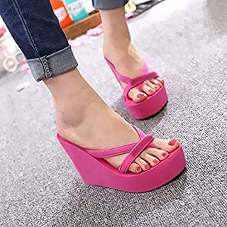 Women Summer Slippers Female Shoes Wedges Flip Flops Simple Thick Botton Woman Thick Beach Shoes Simple casual sandals and slippers (Color : Rose red, Shoe Size : 35)